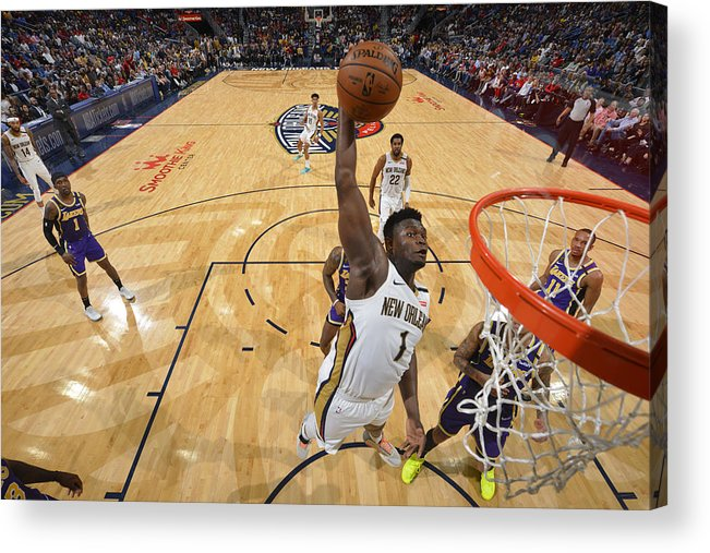 Smoothie King Center Acrylic Print featuring the photograph Zion Williamson by Jesse D. Garrabrant