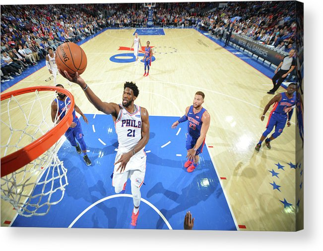 Nba Pro Basketball Acrylic Print featuring the photograph Joel Embiid by Jesse D. Garrabrant