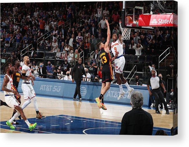 Playoffs Acrylic Print featuring the photograph 2021 NBA Playoffs - Atlanta Hawks v New York Knicks by Nathaniel S. Butler