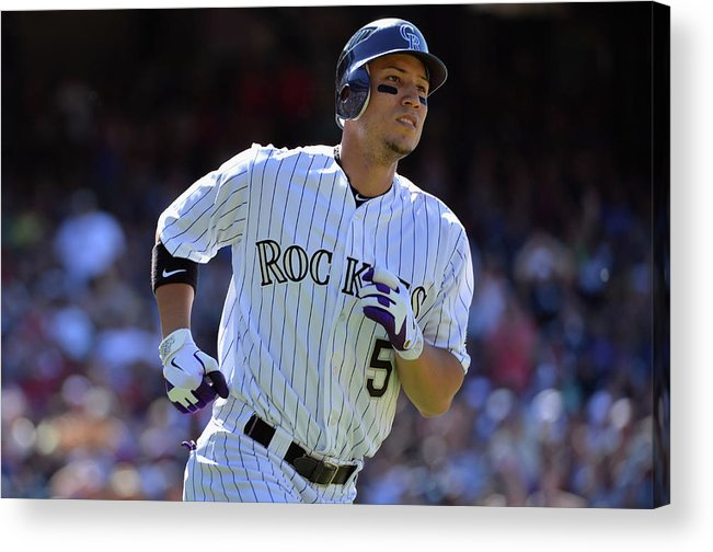American League Baseball Acrylic Print featuring the photograph Carlos Gonzalez by Doug Pensinger