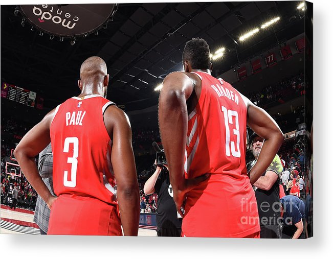 Nba Pro Basketball Acrylic Print featuring the photograph Chris Paul and James Harden by Andrew D. Bernstein