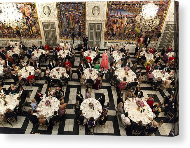 Event Acrylic Print featuring the photograph Crown Prince Frederik of Denmark Holds Gala Banquet At Christiansborg Palace by Ole Jensen