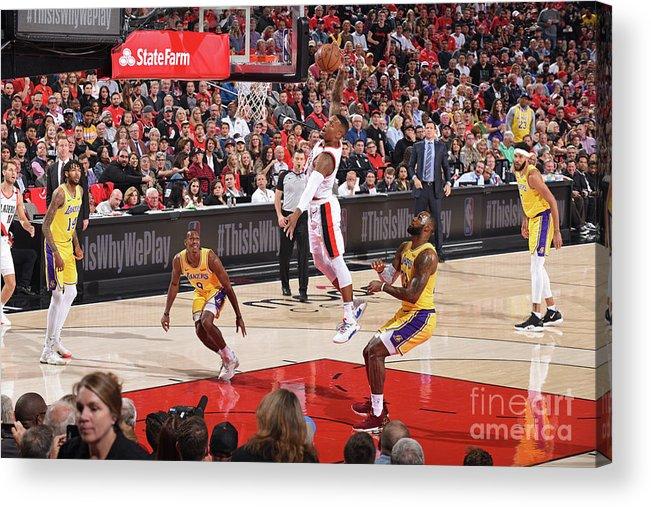 Nba Pro Basketball Acrylic Print featuring the photograph Damian Lillard by Andrew D. Bernstein