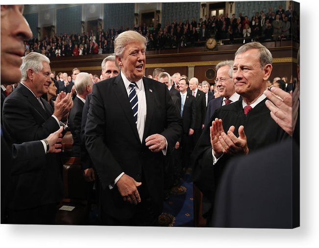 Event Acrylic Print featuring the photograph Donald Trump Delivers Address To Joint Session Of Congress by Pool