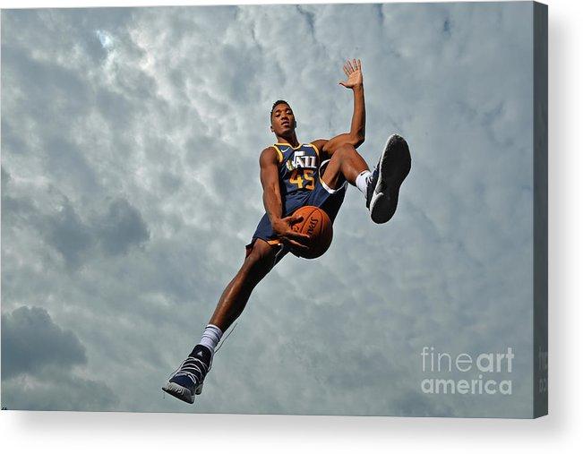 Nba Pro Basketball Acrylic Print featuring the photograph Donovan Mitchell by Jesse D. Garrabrant