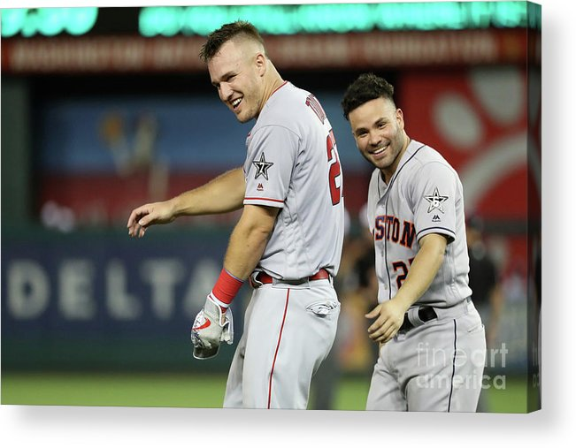 Three Quarter Length Acrylic Print featuring the photograph Mike Trout by Rob Carr