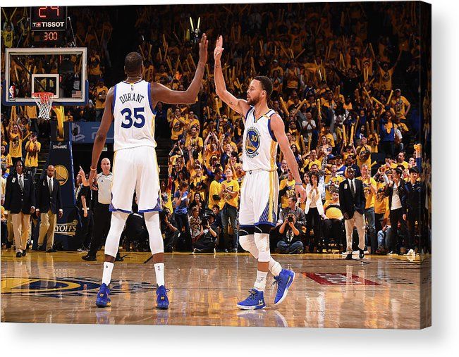 Playoffs Acrylic Print featuring the photograph Stephen Curry and Kevin Durant by Noah Graham