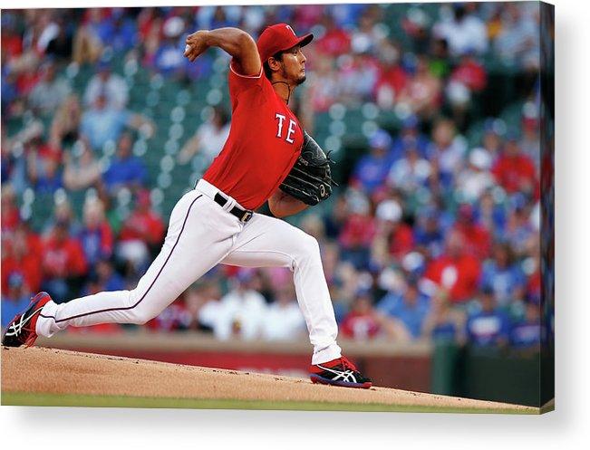 American League Baseball Acrylic Print featuring the photograph Yu Darvish by Tom Pennington
