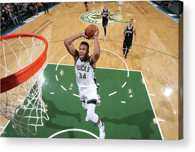 Nba Pro Basketball Acrylic Print featuring the photograph Giannis Antetokounmpo by Gary Dineen