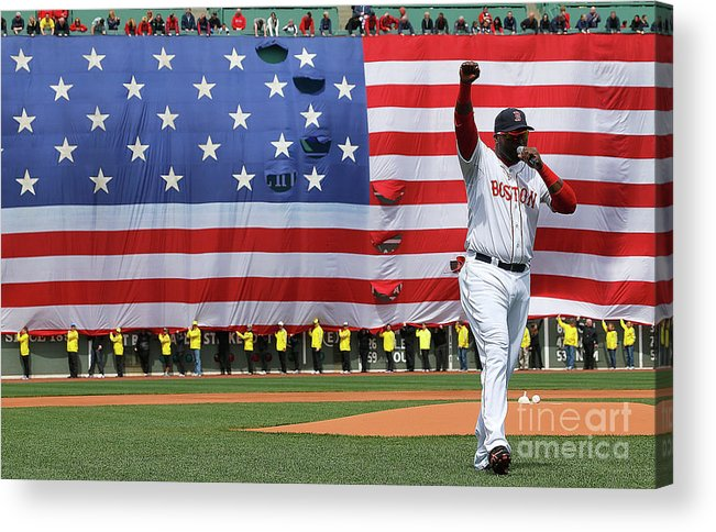 American League Baseball Acrylic Print featuring the photograph David Ortiz by Jim Rogash