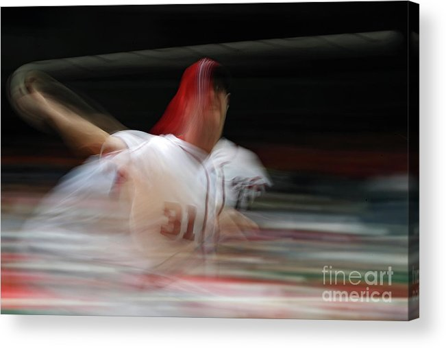 Working Acrylic Print featuring the photograph Max Scherzer by Patrick Smith