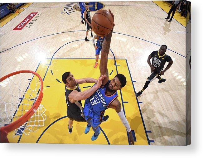 Nba Pro Basketball Acrylic Print featuring the photograph Paul George by Garrett Ellwood