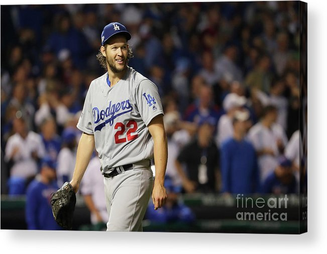 Game Two Acrylic Print featuring the photograph Clayton Kershaw by Jamie Squire