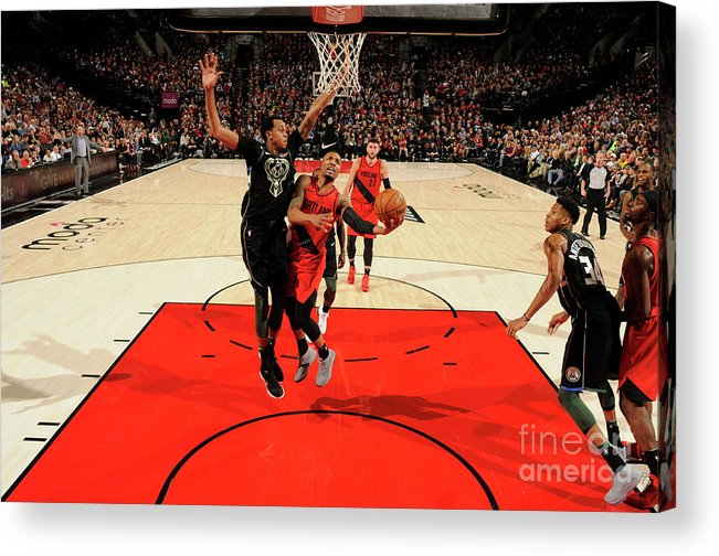 Nba Pro Basketball Acrylic Print featuring the photograph Damian Lillard by Cameron Browne