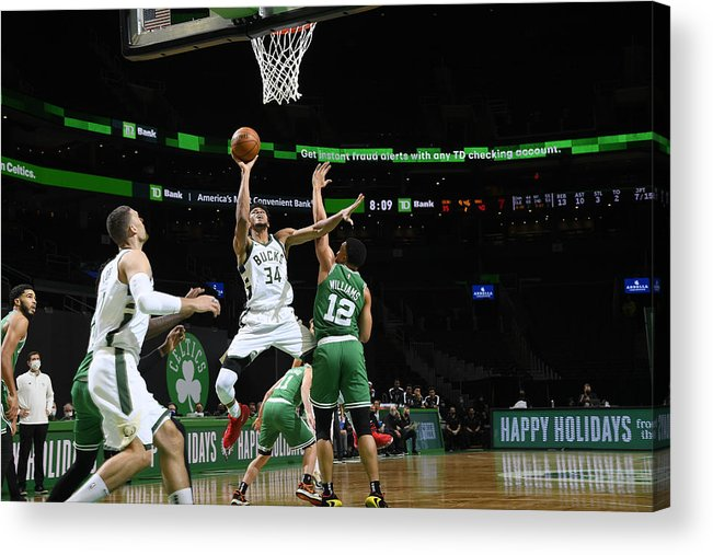 Nba Pro Basketball Acrylic Print featuring the photograph Giannis Antetokounmpo by Brian Babineau