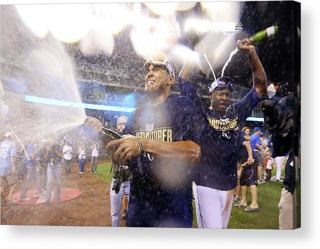 Playoffs Acrylic Print featuring the photograph Lorenzo Cain by Ed Zurga
