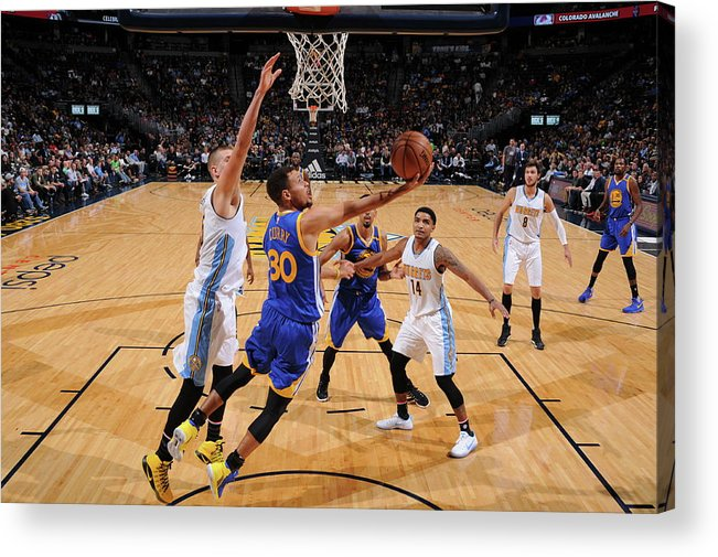 Nba Pro Basketball Acrylic Print featuring the photograph Stephen Curry by Garrett Ellwood