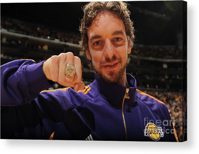 Nba Pro Basketball Acrylic Print featuring the photograph Pau Gasol by Andrew D. Bernstein