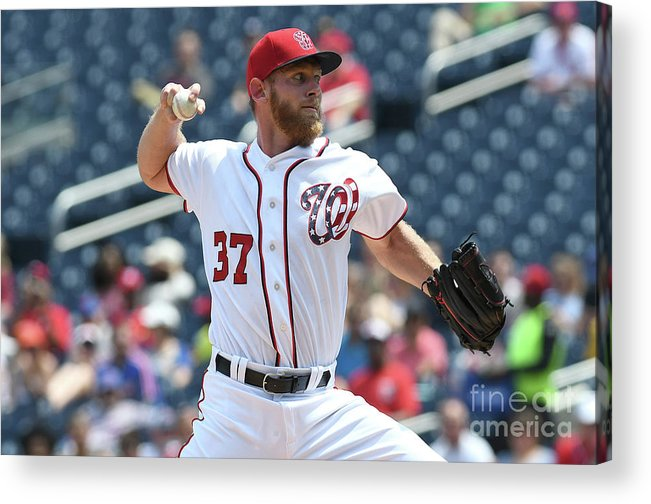 American League Baseball Acrylic Print featuring the photograph Stephen Strasburg by Greg Fiume