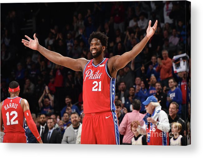 Nba Pro Basketball Acrylic Print featuring the photograph Joel Embiid by David Dow
