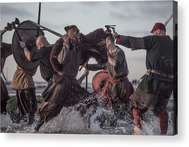 Water's Edge Acrylic Print featuring the photograph A Hoard Of Weapon Wielding Viking Warriors Fighting In A Battlefield Scene In The Sea by Lorado