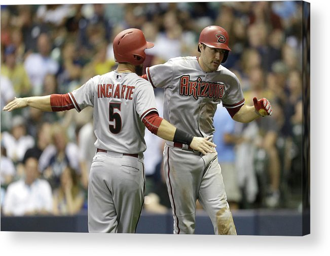 Ninth Inning Acrylic Print featuring the photograph A. J. Pollock by Mike Mcginnis