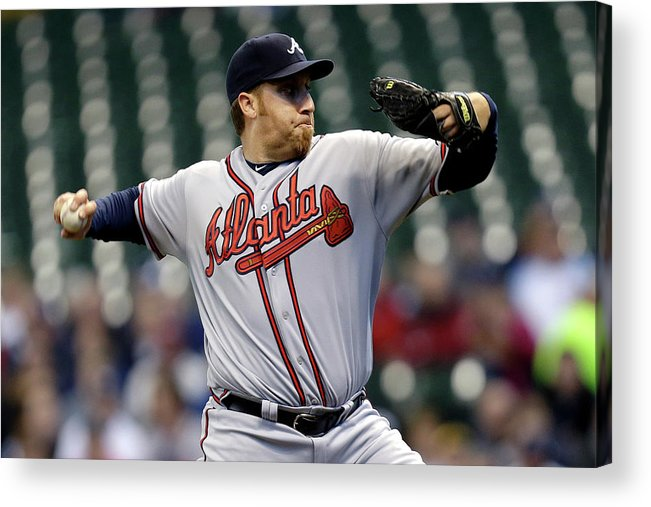 Aaron Harang Acrylic Print featuring the photograph Aaron Harang by Mike Mcginnis