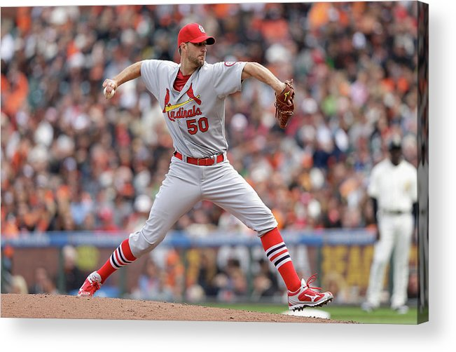 St. Louis Cardinals Acrylic Print featuring the photograph Adam Wainwright by Ezra Shaw