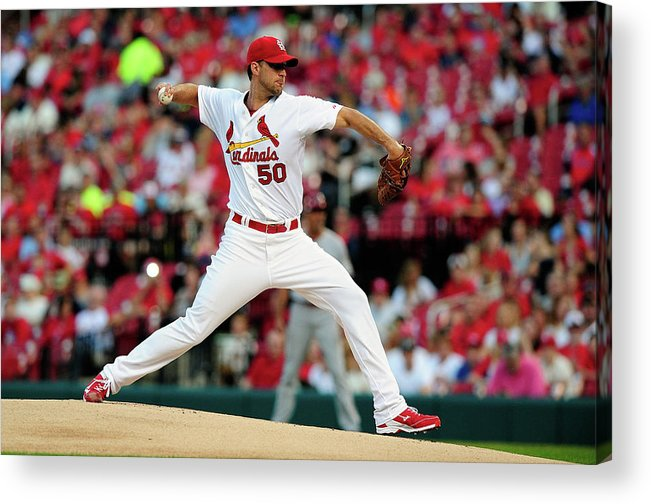 St. Louis Cardinals Acrylic Print featuring the photograph Adam Wainwright by Jeff Curry
