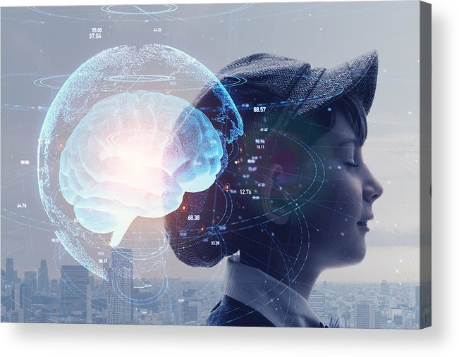 Internet Acrylic Print featuring the photograph AI (Artificial Intelligence) concept. Education concept. by Metamorworks