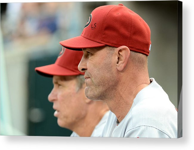 American League Baseball Acrylic Print featuring the photograph Alan Trammell and Kirk Gibson by Mark Cunningham