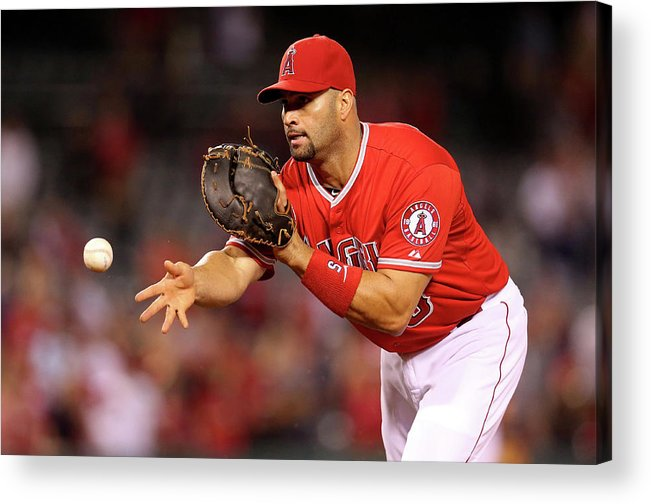 American League Baseball Acrylic Print featuring the photograph Albert Pujols, Nick Franklin, and Cam Bedrosian by Stephen Dunn