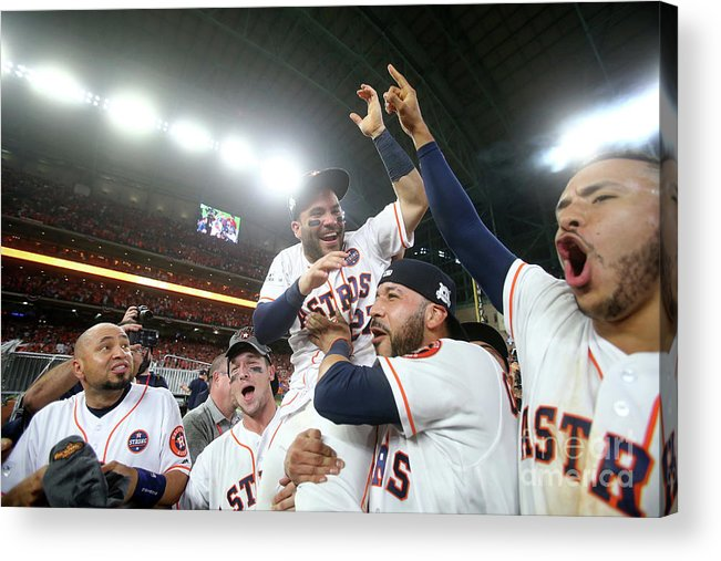 Alex Bregman Acrylic Print featuring the photograph Alex Bregman and Carlos Correa by Elsa