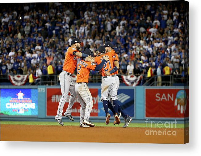 Alex Bregman Acrylic Print featuring the photograph Alex Bregman and Carlos Correa by Ezra Shaw