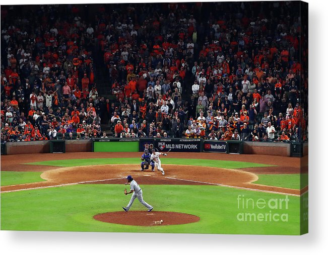 Alex Bregman Acrylic Print featuring the photograph Alex Bregman and Kenley Jansen by Ezra Shaw