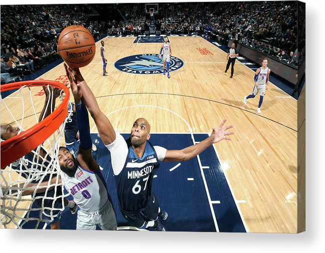 Nba Pro Basketball Acrylic Print featuring the photograph Andre Drummond and Taj Gibson by David Sherman
