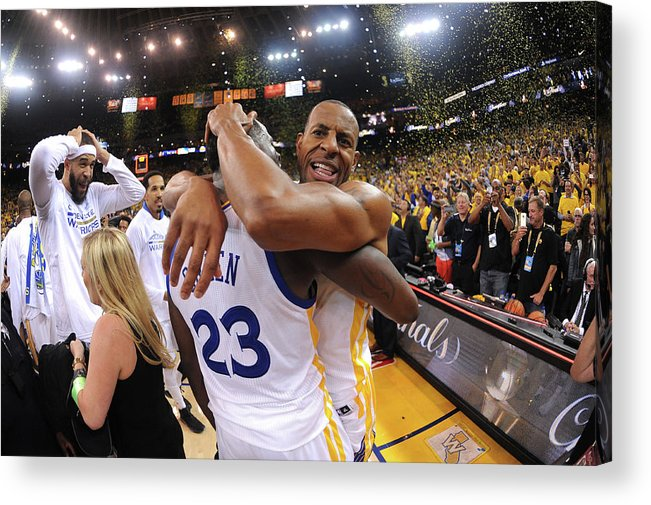 Playoffs Acrylic Print featuring the photograph Andre Iguodala and Draymond Green by Noah Graham