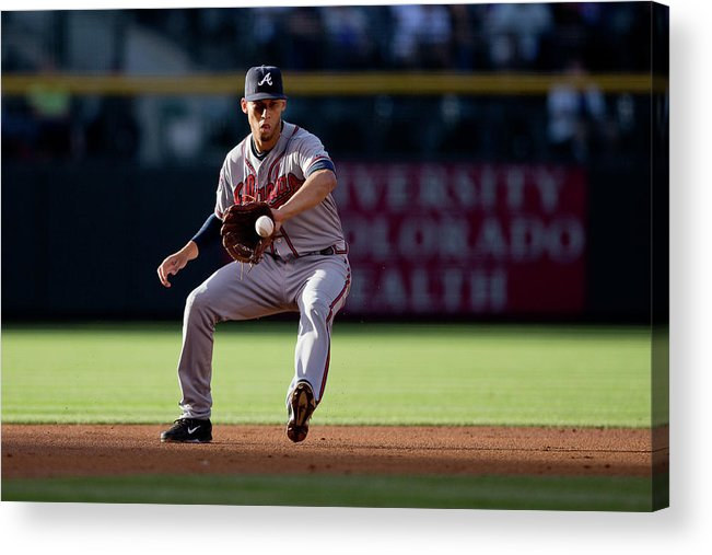 Ball Acrylic Print featuring the photograph Andrelton Simmons And Drew Stubbs by Justin Edmonds