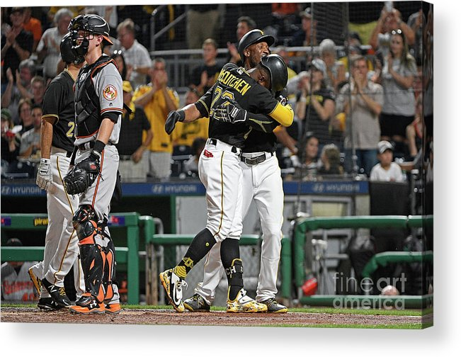 Second Inning Acrylic Print featuring the photograph Andrew Mccutchen and Starling Marte by Justin Berl