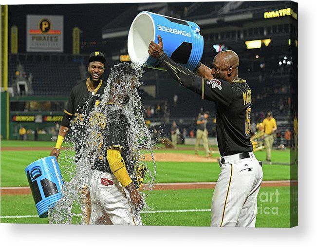 Three Quarter Length Acrylic Print featuring the photograph Andrew Mccutchen, Starling Marte, and Gregory Polanco by Justin Berl