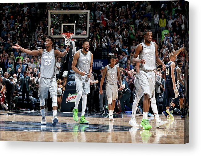 Nba Pro Basketball Acrylic Print featuring the photograph Andrew Wiggins and Jeff Teague by David Sherman