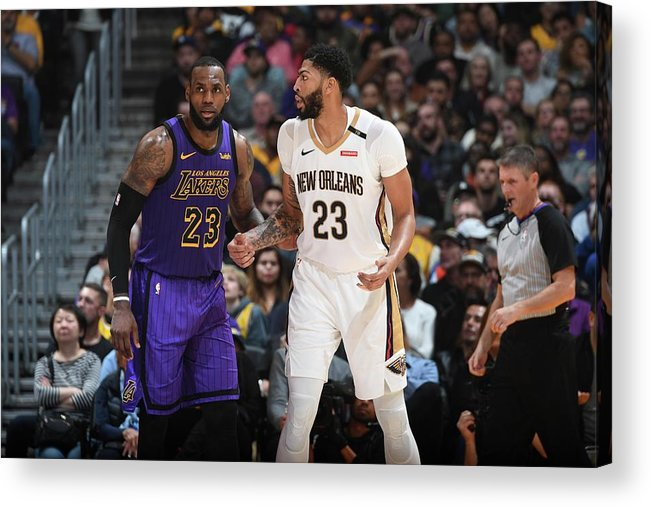 Nba Pro Basketball Acrylic Print featuring the photograph Anthony Davis and Lebron James by Andrew D. Bernstein