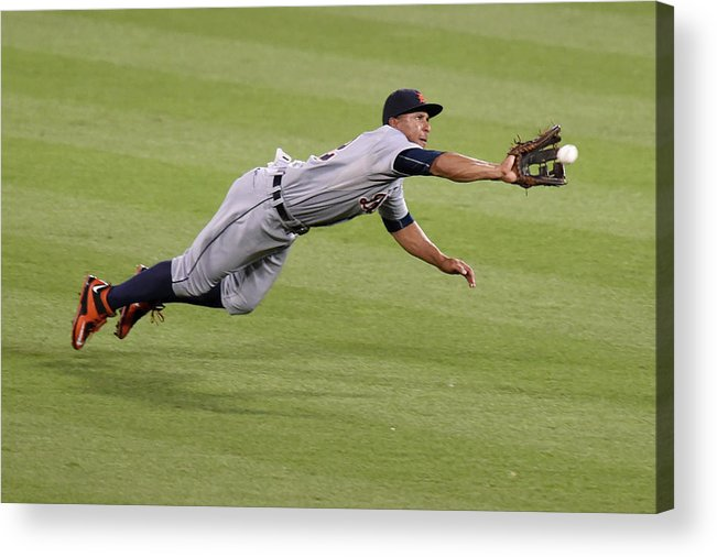 People Acrylic Print featuring the photograph Anthony Gose and Adam Jones by Mitchell Layton