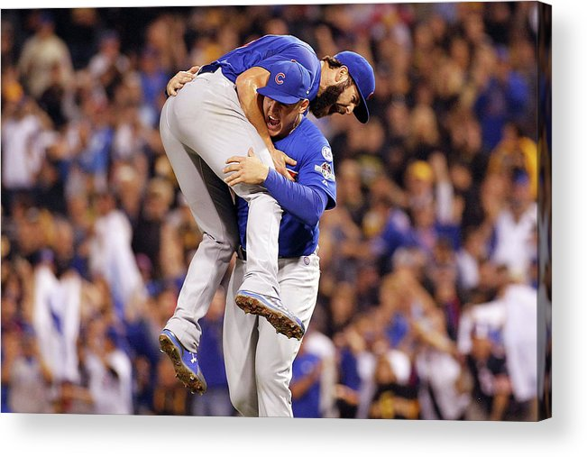 Playoffs Acrylic Print featuring the photograph Anthony Rizzo and Jake Arrieta by Justin K. Aller