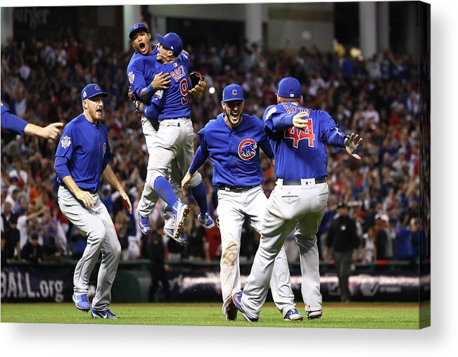 American League Baseball Acrylic Print featuring the photograph Anthony Rizzo and Kris Bryant by Ezra Shaw