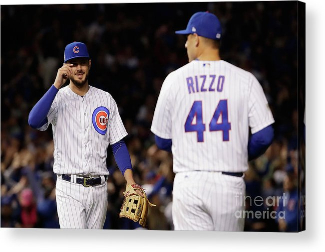 Three Quarter Length Acrylic Print featuring the photograph Anthony Rizzo and Kris Bryant by Jamie Squire