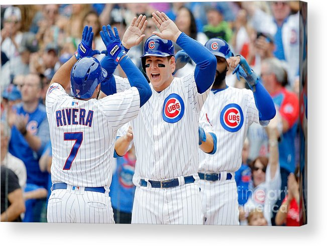 Second Inning Acrylic Print featuring the photograph Anthony Rizzo and Rene Rivera by Jon Durr