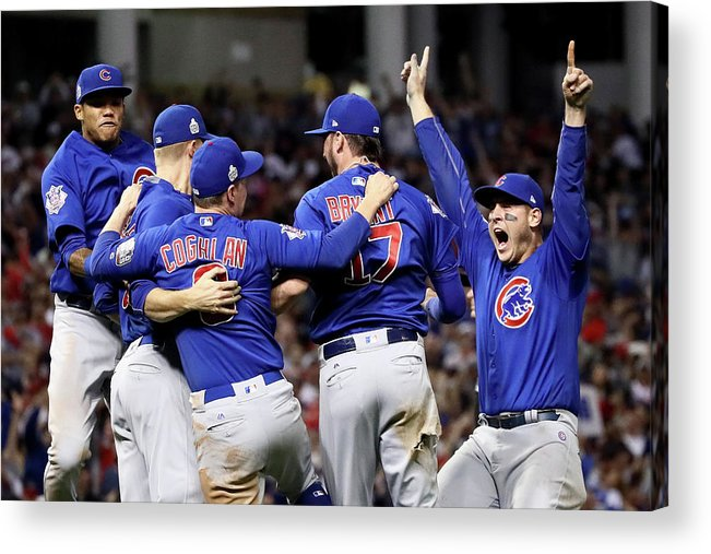 Three Quarter Length Acrylic Print featuring the photograph Anthony Rizzo, Kris Bryant, and Chris Coghlan by Ezra Shaw