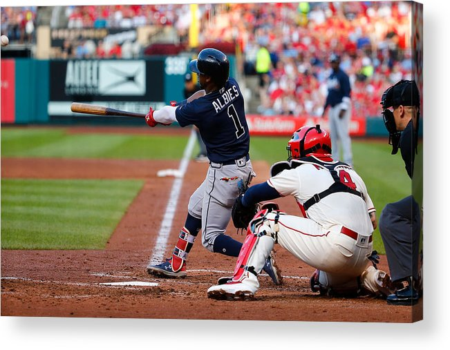St. Louis Cardinals Acrylic Print featuring the photograph Atlanta Braves v St Louis Cardinals by Dilip Vishwanat
