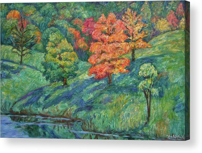 Landscape Acrylic Print featuring the painting Autumn Pond by Kendall Kessler